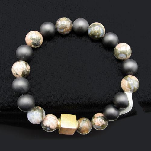 African Opal & Agate Bead Bracelet