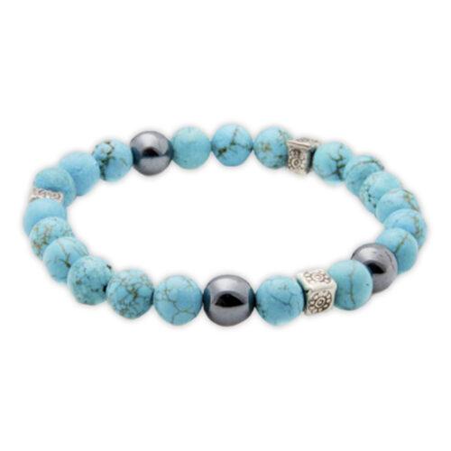 Aqua & Silver Precious Stone Bracelet