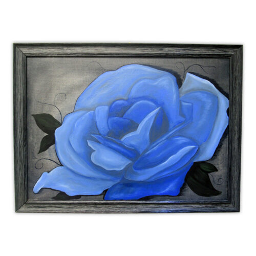 """Blue Rose on Denim"" Artwork by Donna"