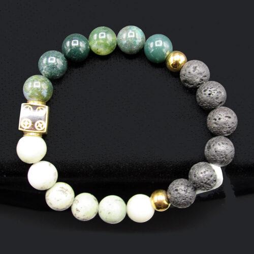 Dendritic Jasper & Moss Agate Lava Bead Bracelet