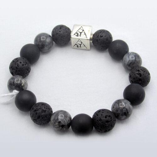 Labradorite Lava Agate Precious Gem Bracelet