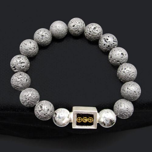Labradorite & Lava Bead Bracelet