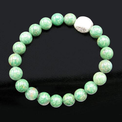 Rare Peacock Stone & African Jade Bead Bracelet